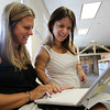 "E2 Teachers Amy Chapman, left, and Alicia Smyrlian, right, of the Carlton School in Salem work together to learn new material for an ""innovation school"" model that will be on course for this academic year. David Le/Staff Photo"