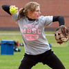 Masco senior captain and catcher Shawna DiPiertro fires a strike down to second base during practice on Thursday afternoon. David Le/Staff Photo