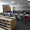 An area for computers in the new library at Danvers High School. David Le/Staff Photo