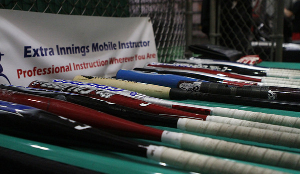 Some of the new bats on display at Extra Innings in Middleton on Thursday. David Le/Salem News