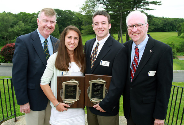 2011-2012 Moynihan Lumber Student Athletes of the Year, junior Catarina Rocha, of Peabody and junior Trevor Lyons, of Hamilton-Wenham stand with Moynihan brothers Jack, left, and Gerard, right. David Le/Staff Photo