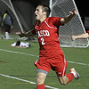 Masco senior Chad Burke celebrates his second goal of the game, which put the Chieftans up 2-0, as Greater New Bedford players can only pick the ball up out of the back of the net. David Le/Salem News