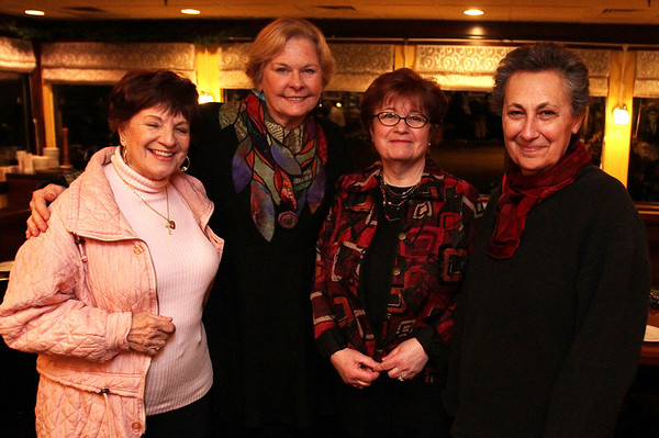 From left, Sandy Flaherty, of Amersbury, Pam Shaw, of Salisbury, Terry Kyrios, of Amesbury, and Jeannette Lazarus, of Salisbury at Museum Night hosted at The Landing Restaurant in Marblehead. David Le/Salem News