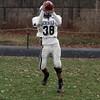 Hamilton-Wenham receiver Dakota Stevens hauls in a pass at practice on Thursday afternoon. David Le/Salem News