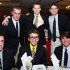 Clockwise from back left, St. John's Prep seniors Tim Contois, Bryan Browne, Nat Casey, Kyle Mitchell, Brenton Bockus, and Shamus Hogan, at the 44th Annual Honor Scholars Recognition Dinner at CoCo Key Hotel in Danvers on Tuesday evening. David Le/Staff Photo