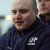 St. John's Prep head coach Kristian Hanson makes some in game adjustments. David Le/Staff Photo