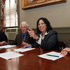Salem Mayor Kim Driscoll was joined by Lucy Corchado, President of the Point Neighborhood Association, left, Sandy Dickson, President of Historic Salem Inc, second from left, and Lisa Alberghini, President of the Planning Office for Urban Affairs, right, on Monday afternoon to sign an agreement regarding the redevelopment of St. Joseph's Church. David Le/Staff Photo