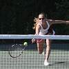 Swampscott: Gloucester singles player Olivia Lufkin, stretches to hit the ball back at the Division 2 North semifinals match in Swampscott on Friday afternoon.<br /> Photo by Cole Margen/ Salem News June 11,2010