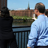 Salem: From left, Kimberly Driscoll, mayor of Salem, State Representative John Keenan, and Salem Ward One Counselor Bob McCarthy toss a ceremonial wreath into the South River as part of the convocation ceremony for the Harborwalk which runs between Lafayette and Congress Streets in Salem on Thursday afternoon. Photo by David Le/Salem News