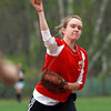 Masco second baseman Anna Berenson fires the ball to first during practice on Thursday afternoon. David Le/Staff Photo