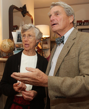 Ipswich author Lucy Myers, talks with Nat Pulsifer, a resident of Ipswich on Friday night. David Le/Salem News