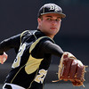 Bishop Fenwick pitcher Kevin Church delivers a pitch against Peabody on Saturday morning. David Le/Staff Photo