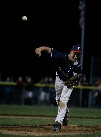 Beverly: Hardthrowing Peabody West starting pitcher Bobby Sullivan unleashes a strike to a Beverly West hitter Friday evening at Harry Ball Field in Beverly. Photo by David Le/Salem News