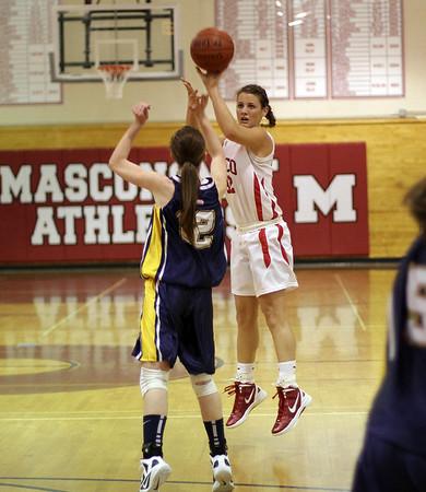 Topsfield: Masco's Brooke Stewart (32) shoots a three-pointer over an Arlington Catholic defender. David Le/Salem News