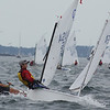 Marblehead: A few members of the Marblehead Junior Race week take the last turn and look towards the finish of their race. The Pleon Yacht Club in Marblehead plays host for Marblehead Junior Race Week which kicked off on Monday afternoon. Photo by David Le/Salem News