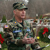 Chaplain Robert Ebersole, of the Civil Air Patrol Beverly Squadron, led the proceedings for the Wreaths Across America ceremony at St. Mary of the Annunciation Cemetary on Saturday afternoon in Danvers. David Le/Salem News