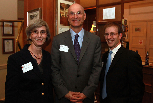 From left, Beth Bower, and Dr. Neal DeChillo, of Salem State University, and Matt Picarsic, from RCG, at the 25th Annual Meeting of the Salem Partnership at the Hawthorne Hotel. David Le/Staff Photo