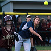 Swampscott firstbaseman Bridget Genoversa-Wong, right, fires the ball to first to throw out a Newburyport runner on Tuesday evening. David Le/Staff Photo