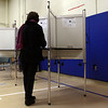 The polls on Super Tuesday were very slow. A Beverly resident fills out her ballot at The Cove School on Tuesday afternoon. David Le/Staff Photo