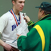 Danvers junior Nick Bates talks with Salem News sports writer Mike Grenier after winning the D3 State Championship. David Le/Staff Photo
