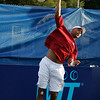 Danvers: Tennis star James Blake of the Boston Lobsters soars in the air rocketing a serve at his opponents in mixed doubles play  at the Ferncroft Country Club in Danvers on Thursday evening. Photo by David Le/Salem News