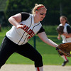 Marblehead starting pitcher Michaela Leblanc reaches down to catch a sharp ground ball back to the mound against Malden on Monday afternoon. David Le/Staff Photo