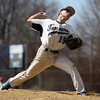 Peabody pitcher Stephen Girolamo delivers a pitch against Bishop Fenwick on Saturday morning. David Le/Staff Photo