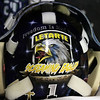 The back of the mask of St. John's Prep senior goalie David Letarte. David Le/Staff Photo