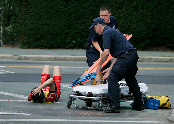 Beverly: EMT's quickly responded to a fallen rider during the men's 4/5 race during the 2010 Beverly Grand Prix held on Wednesday afternoon. Photo by David Le/Salem News