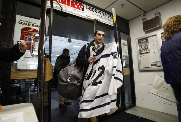 St. John's Prep Brent Murray leaves Ristuccia Arena following a victory over Austin Prep. David Le/Staff Photo