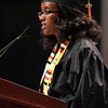 Salem State student speaker Penina Marenge addresses her classmates during Commencement on Saturday afternoon. David Le/Staff Photo