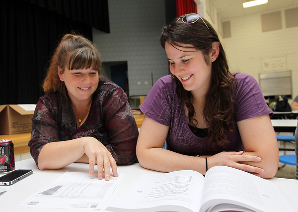 Bentley Elementary School 2nd grade teacher Dana Kleemola, left, and Katrina Roscoe, look over some worksheets in preparation for the 2012 academic year on Thursday afternoon. David Le/Staff Photo