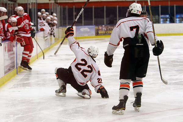Beverly's Connor Irving celebrates his goal against Saugus while his cousin Andrew Irving comes over to join the celebration. David Le/Staff Photo