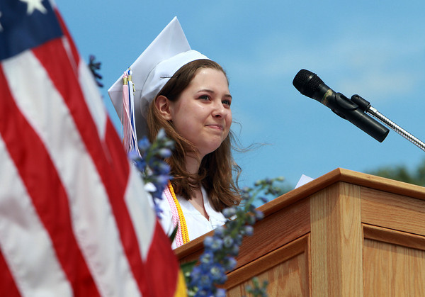 "Danvers High School Valedictorian Sarah Vandewalle delivers her speech titled ""Being A Geek"" to her classmates during Graduation on Saturday afternoon. David Le/Staff Photo"