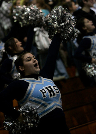 Salem: Jen Bonia, 17, leads the Peabody Cheerleaders in a cheer during Peabody High hockey's state tournament game in Division 2 North quarterfinals vs. Lincoln-Sudbury held at Salem State. Photo by Deborah Parker/Salem News Friday, February 27, 2009.