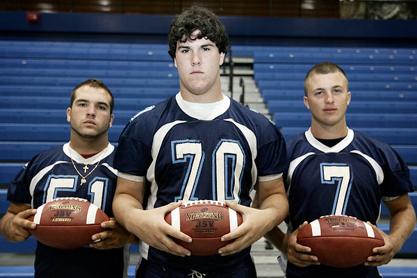 Peabody football captains from left, Mike DiFrancisco, Jeff Egitto, and Mike O'Brien. Photo by Deborah Parker/August 29, 2009