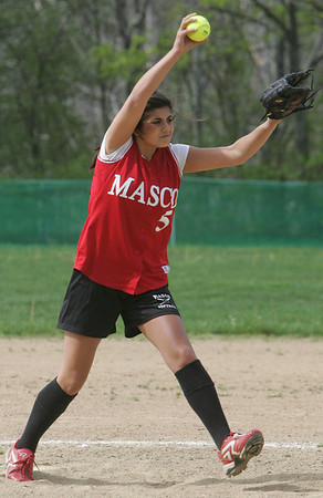 Masco's Lissa Rescigno throws out a pitch during yesterday's game against Pentucket. Photo by Deborah Parker/may 7, 2010