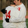 Lowell: Masco Kevin McAllister and STeve PErkins comforts one another after the team's loss to Mt. Greylock during Saturday's Division 2 State Championship soccer game in Lowell. Masco was defeated 3-2. Photo by Deborah Parker/Salem News Saturday, November 22, 2008.