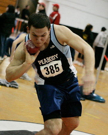 Beverly: Peabody's Kevin Bettencourt competes in the shot put during their meet against Salem at Beverly High School Thursday evening. Photo by Deborah Parker/Salem News Thursday, January 22, 2009.