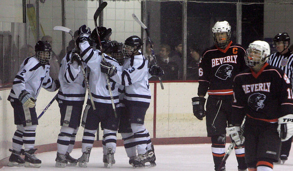Peabody celebrate after scoring on Beverly during Wednesday night game at Mcvann-O'Keefe Rink in Peabody. Photo byDeborah Parker/December 23, 2009