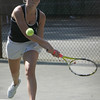 Hamilton Wenham's Bridie Thaggard competes in yesterday's tennis match against Ipswich. Photo by Deborah Parker/May 26, 2010