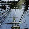 Seaman Jared Hutchins climbs his way up the ropes towards the sails while  aboard the Friendship Tuesday. Naval officers, who will work aboard the USS Constitution, trained aboard the Friendship for three days this past week. They have been doing dry dock training since May and this was their first chance to train at sea. Photo by Deborah Parker/July 14, 2010