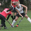 Beverly's Erin Silvestri and Saugus' Courtney Caniff fight for control of the ball during Monday afternoon's game held in Beverly. Photo by deborah parker/october 25, 2010