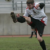 Salem: Salem's Andy Cavanaugh high kicks the ball in yesterday's MIAA tournament action against St. John's Prep at Bertram Field. St. John's won the game 3-1. Photo by Deborah Parker/Salem News Friday, November 07, 2008