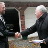 Mayor Bill Scanlon greets Beverly resident Tony Slabacheski on  the final day of campaigning in the Beverly mayor's race.  Photo by Deborah Parker/November 2, 2009