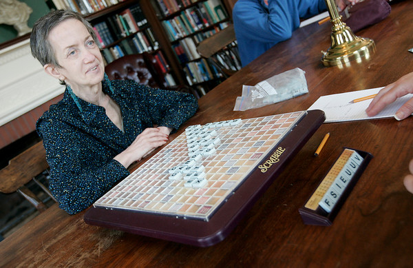 Salem: Marion Gershaw of Middleton looks to her opponent Marguerite Frank of Salem while playing in the Scrabble Tournament at the Salem Athenaeum Saturday morning. The event is one of the many that took place over the weekend as part of the Literally Salem, Salem Literature Festival. Photo by Deborah Parker/Salem News Saturday, March 28, 2009.