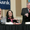 Danvers Town Manager Wayne Marquis and Salem Mayor Kim Driscoll laugh as Beverly Mayor Bill Scanlong speaks during the North Shore Chamber of Commerce Business Expo luncheon held at the Crowne Plaza Boston North Shore. Photo by Deborah Parker/February ,23, 2010