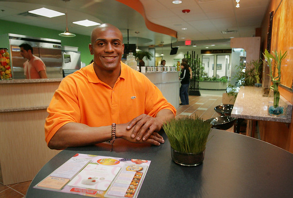 Former Patriots player David Givens, has recently opened a new cafe, Euphoria Lifestyle Cafe, in the Cummings Center off Rte 62 in Beverly. Photo by Deborah Parker/June 16, 2010<br /> , Former Patriots player David Givens, has recently opened a new cafe, Euphoria Lifestyle Cafe, in the Cummings Center off Rte 62 in Beverly. Photo by Deborah Parker/June 16, 2010