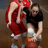 Peabody: Center School's Ashley Goslow tries to maintain control of the ball against South School's Jennifer Talbot during yesterday's final game in Peabody's 5th Grade Elementary Basketball League.  Photo by Deborah Parker/Salem News Thursday, March 12, 2009.