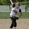 Marblehead: Sarah Hastings throws out a pitch against Danvers during yesterday's game held at Marblehead Veterans Middle School. PHoto by Deborah Parker/May 13, 2009